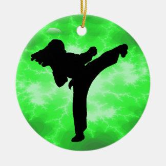 Diseño femenino del relámpago verde de los artes m adorno de navidad