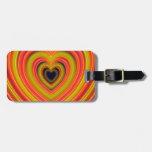 Diseño femenino encendido neón del corazón etiquetas para equipaje