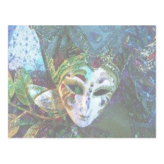 Diseño festivo de la máscara del carnaval tarjeta postal