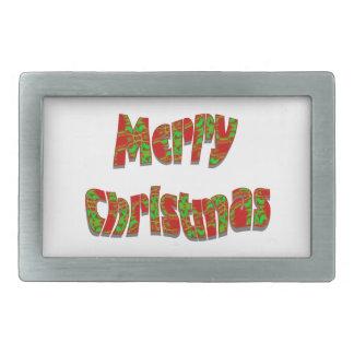 Diseño festivo de las Felices Navidad Hebillas De Cinturon Rectangulares