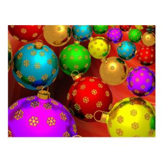 Diseño festivo de los ornamentos del árbol de tarjetas postales