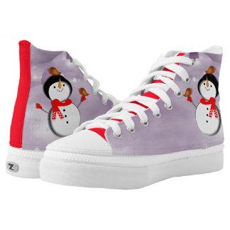 Diseño festivo lindo del muñeco de nieve zapatillas