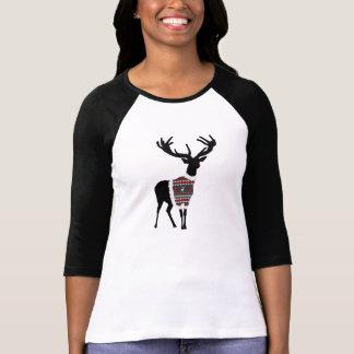 Diseño festivo sospechado rojo lindo del reno poleras