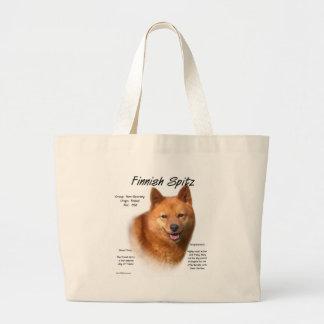 Diseño finlandés de la historia del perro de Pomer Bolsa Tela Grande