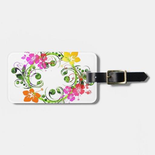 Diseño floral 01 etiquetas para equipaje