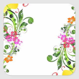 Diseño floral 04 pegatina cuadrada