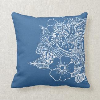 Diseño floral 1 - azul de medianoche cojines
