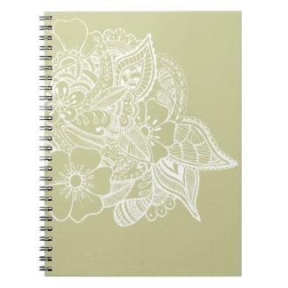 diseño floral 1 - Beige Libros De Apuntes