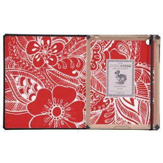 diseño floral 1 - Rojo iPad Carcasas