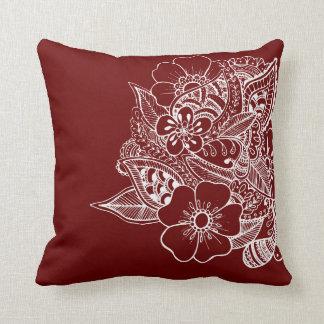 Diseño floral 1 - rojo oscuro almohada