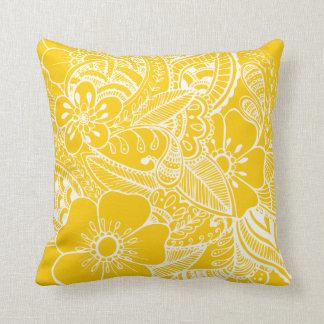 Diseño floral 2 - amarillo cojines