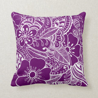 Diseño floral 2 - púrpura cojines