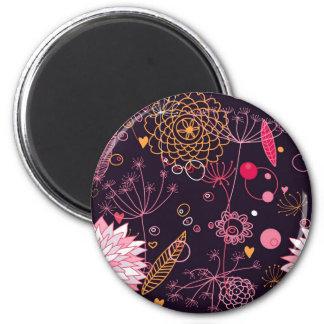 Diseño floral abstracto de la diversión imán redondo 5 cm