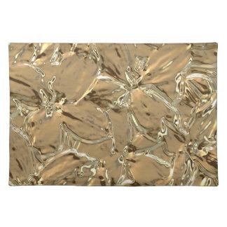 Diseño floral abstracto moderno del metal del oro mantel