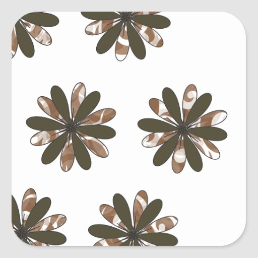 Diseño floral abstracto pegatina cuadrada