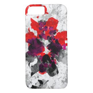 Diseño floral abstracto - rojo y púrpura sobre funda iPhone 7