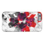 Diseño floral abstracto - rojo y púrpura sobre funda para iPhone 6 barely there