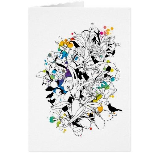 diseño floral abstracto tarjeta de felicitación