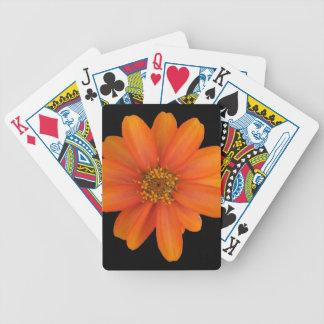Diseño floral anaranjado barajas de cartas