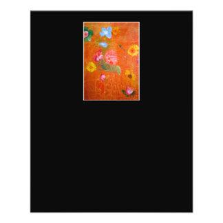 Diseño floral anaranjado flyer a todo color