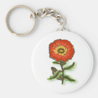 Diseño floral anaranjado llavero redondo tipo pin