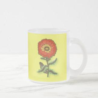 Diseño floral anaranjado taza de café esmerilada