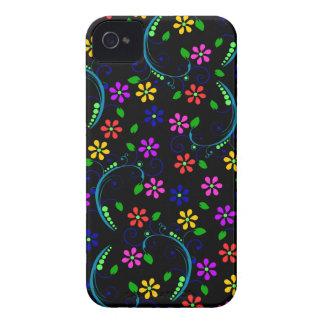 Diseño floral Arco iris-Coloreado en la cubierta iPhone 4 Fundas