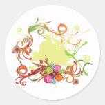 diseño floral artsy del vector de la dicha pegatinas redondas