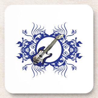 Diseño floral azul bajo azul del círculo posavasos