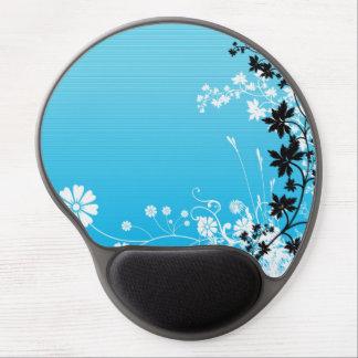 Diseño floral azul de moda alfombrillas de ratón con gel