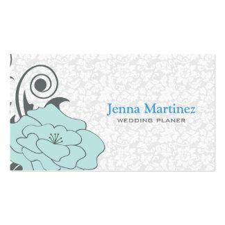 Diseño floral azul del gris y blanco plantillas de tarjeta de negocio