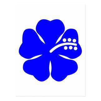 Diseño floral azul del hibisco postal