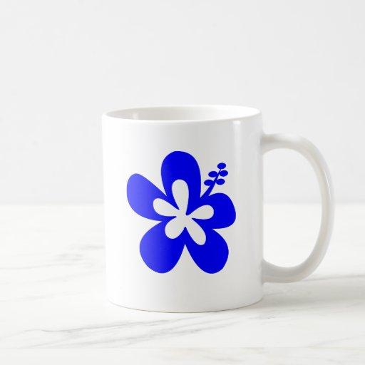 Diseño floral azul del hibisco taza