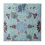diseño floral azul del nouveau del arte teja  ceramica