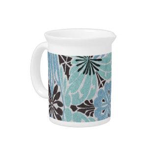 diseño floral azul del nouveau del arte jarra para bebida