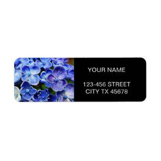 Diseño floral azul suave abstracto elegante etiquetas de remite
