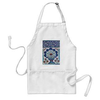 Diseño floral azul y blanco de la teja de la era d delantal