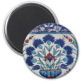 Diseño floral azul y blanco de la teja de la era d imán de frigorífico