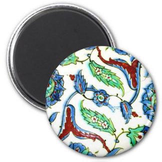 Diseño floral azul y blanco de la teja de la era d iman para frigorífico