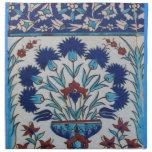 Diseño floral azul y blanco de la teja de la era d servilletas de papel