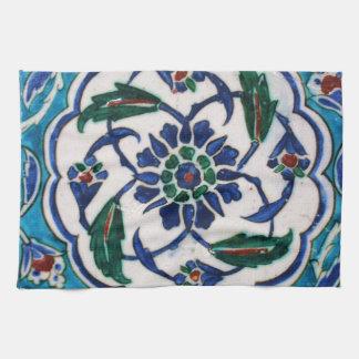 Diseño floral azul y blanco de la teja de la era toalla de mano