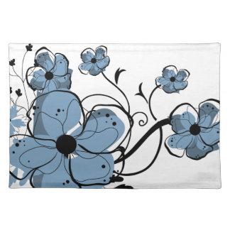 Diseño floral azul y negro moderno manteles