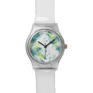 Diseño floral azul y verde abstracto