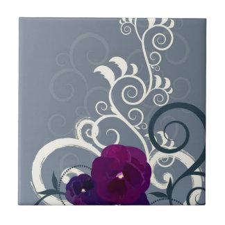 Diseño floral azulejo cuadrado pequeño