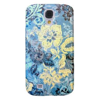 Diseño floral blanco azul elaborado impresionante  funda para galaxy s4