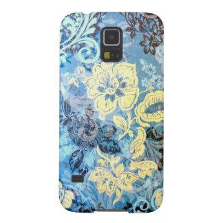 Diseño floral blanco azul elaborado impresionante fundas para galaxy s5