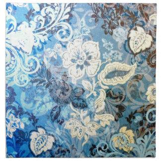 Diseño floral blanco azul elaborado impresionante servilletas de papel