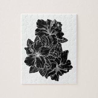Diseño floral blanco y negro elegante del hibisco rompecabeza con fotos