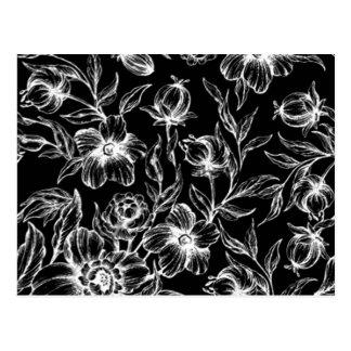 Diseño floral blanco y negro elegante del hibisco tarjetas postales