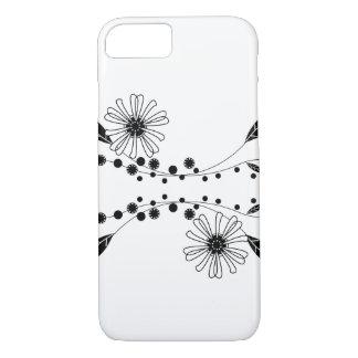 Diseño floral blanco y negro que fluye funda iPhone 7
